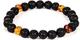 AMBERAGE Natural Baltic Amber - Lava Bracelet for Adults (Women/Men) - Hand Made from Lava and Polished/Certified Baltic A...