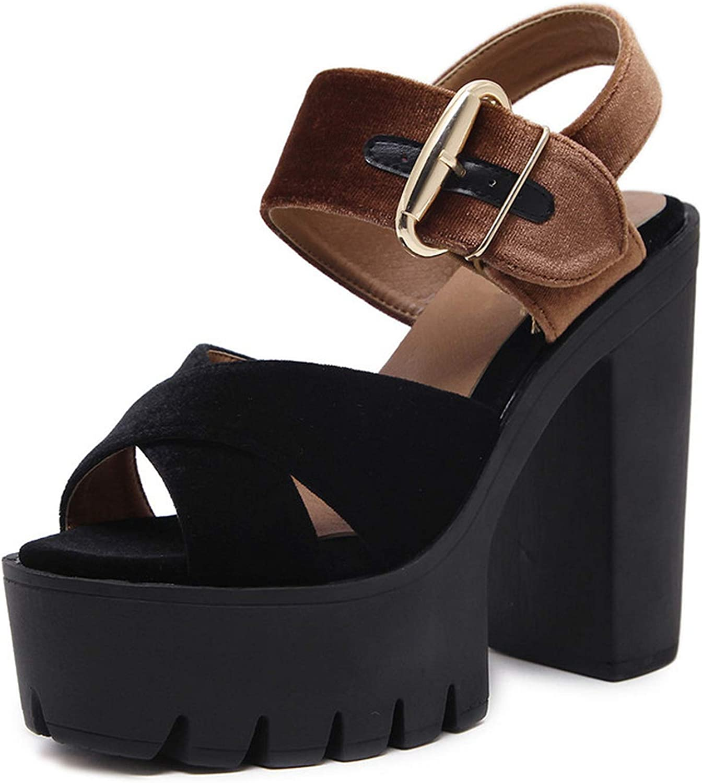 Flock Women Sandals Platform Wedge Square Heeled Female shoes Comfortable High Heels shoes