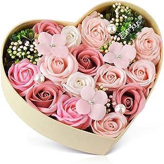 母の日 バラ型ソープフラワー ハートフラワー形状ギフトボックス 誕生日 記念日 先生の日 バレンタインデー 昇進 転居など最適としてのプレゼント…