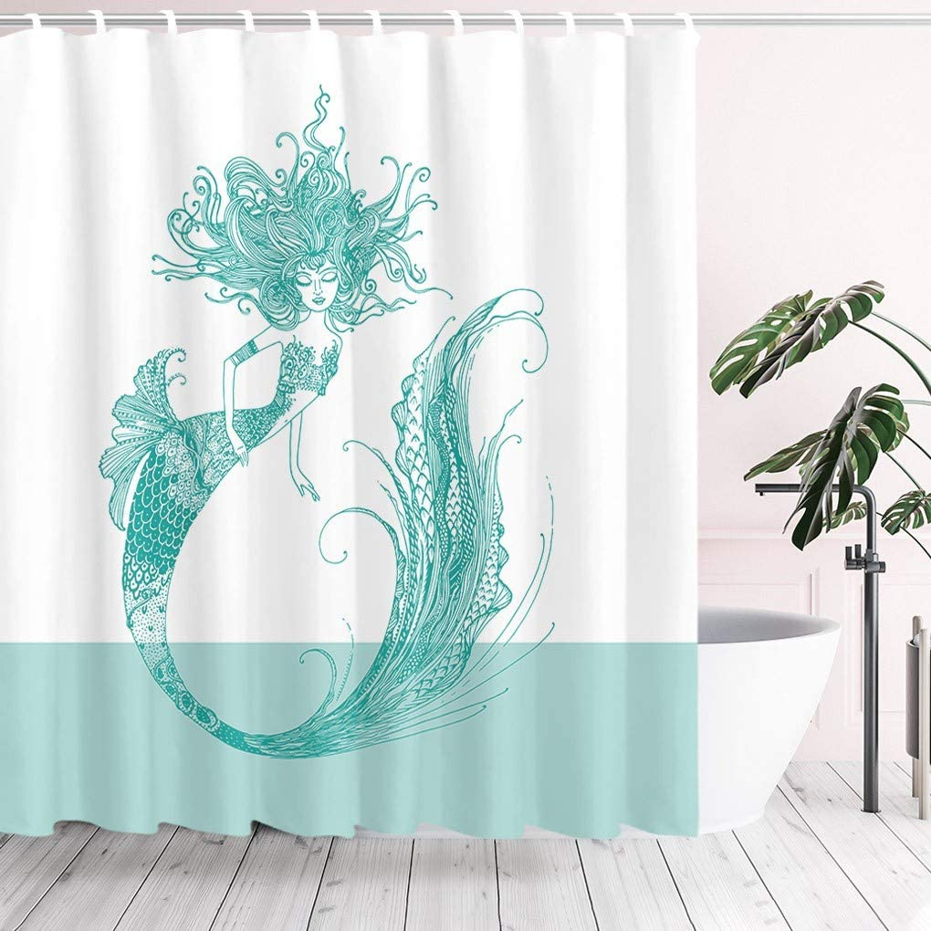 Tititex Mermaid Shower Curtain Max 90% Limited price sale OFF White M Green Tail Goldfish Decor