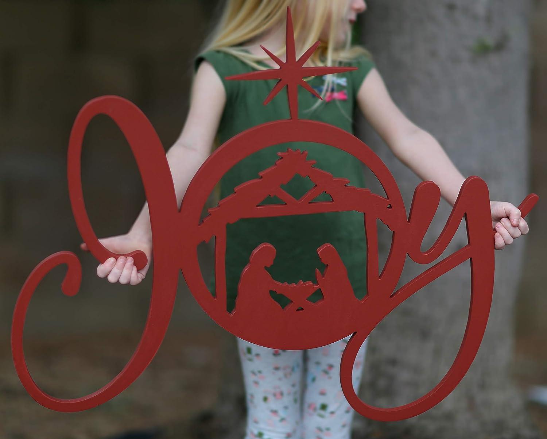 Joy Religious Sign Max 78% OFF Now on sale Nativity Scene Cutout Christian Wood Christ