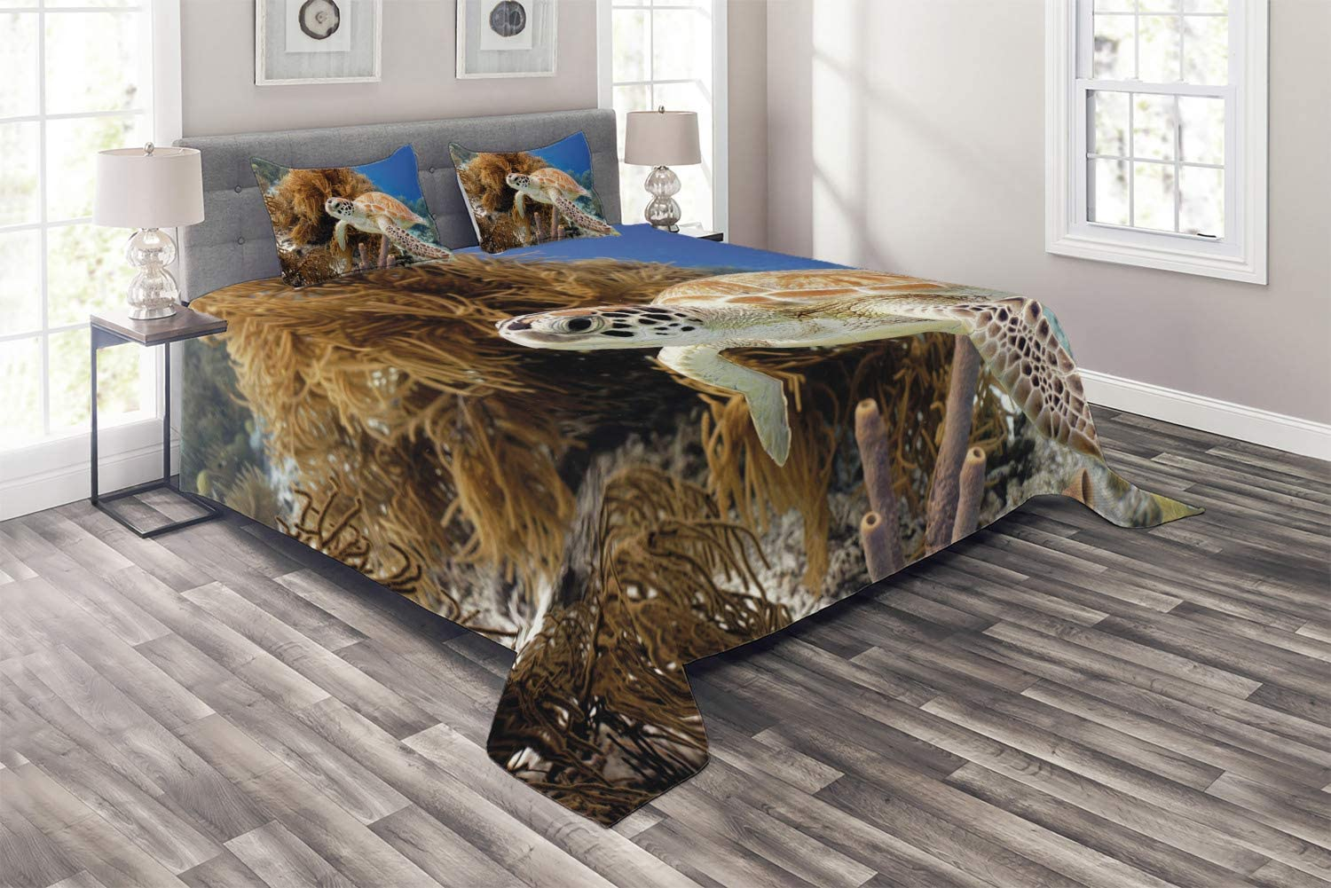 Ambesonne Turtle New York Mall online shop Coverlet Coral Reef and Close Ph Sea up