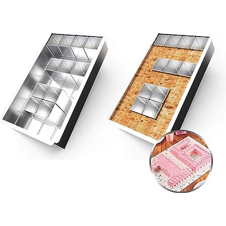 Anokay Plaque de Cuisson rectangulaire / Moule à Gâteau et 12 de Blocs carrés amovibles pour Faire le Gâteau avec n'importe quel Numéro et Lettre/ Combinaison libre / DIY
