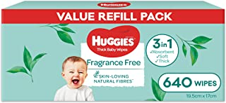 HUGGIES Thick Baby Wipes Fragrance Free (Pack of 640)