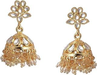 Zephyrr Handmade Drop Jhumki Earrings Jewelry In Golden Color For Women Handmade Kundan & Pearl Drop Earrings Indian Jewelry
