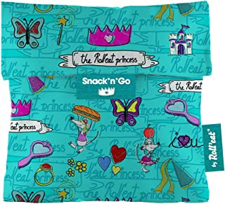 Roll'eat - Snack'n'Go Kids Bolsa Merienda Porta Sandwich Ecológica y Reutilizable sin BPA, Princesas Turquesa