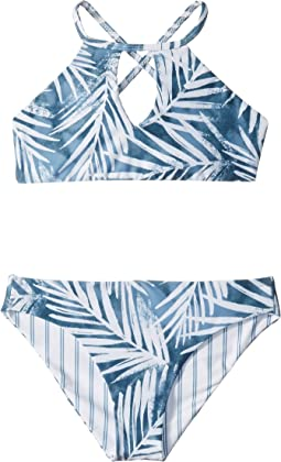 Stormy Story Reversible High Neck Swim Set (Big Kids)