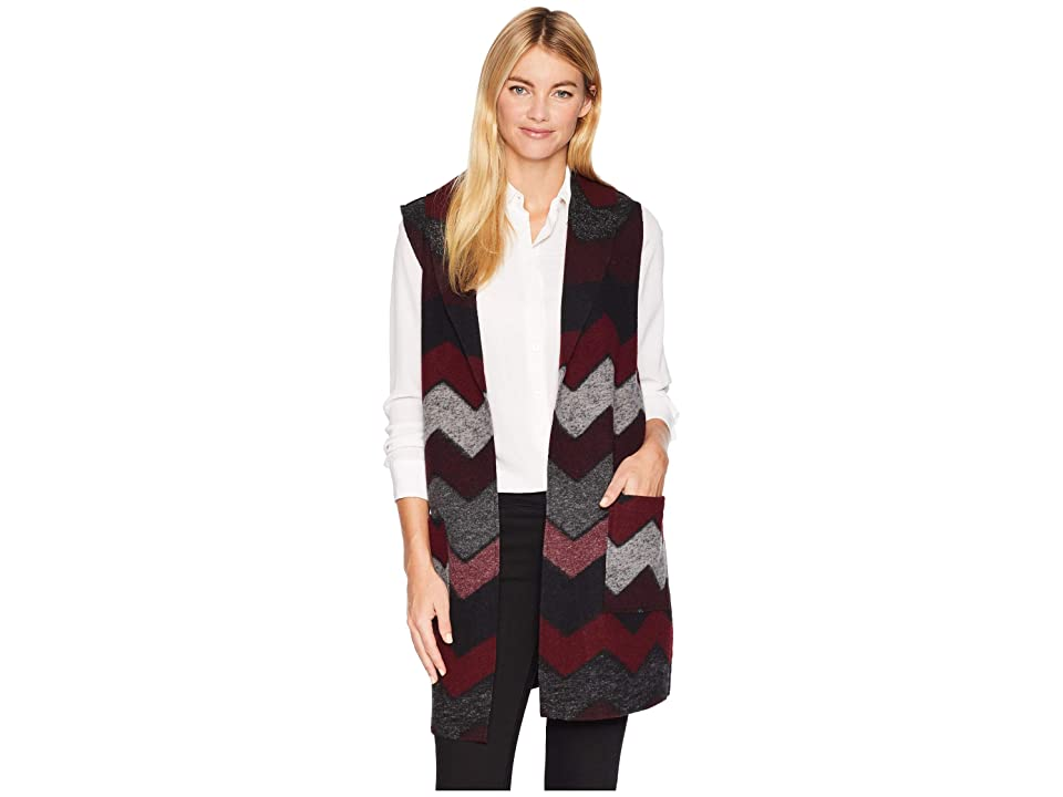 Tribal Shawl Collar Vest with Pockets (Zinfandel) Women