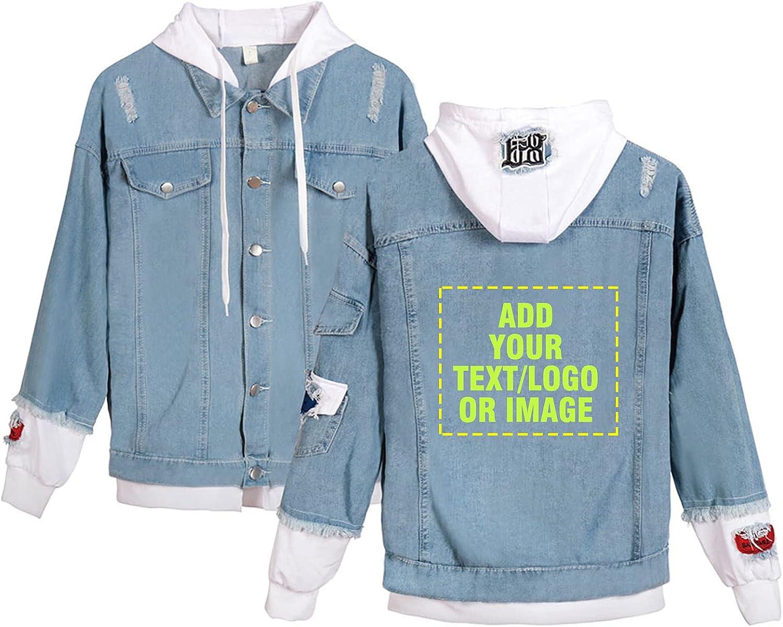 Custom Denim Jacket Personalized Fake Max 72% San Francisco Mall OFF Two Unisex Drawstring Hood