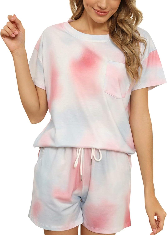 ThusFar Women's Casual Pajama Sets Tie Dye Two Piece Outfits Soft Loose Tops Shorts Pjs Sleepwear Loungewear Nightwear