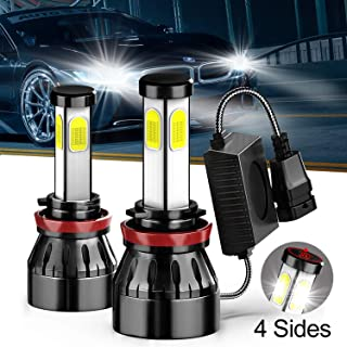 9006 HB4 H10 LED Car Headlight Bulbs,Extremely Bright Light COB Chips 80W 8000 Lumens 6000K Cool White Halogen Replacement Conversion Kit