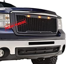 EAG Replacement Upper Grille Front Mesh Grill with Amber LED Lights - Matte Black Fit for 07-10 GMC Sierra 2500/3500 Heavy Duty