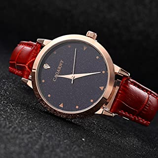 Songlin@yuan 6875 Round dial Waterproof Starry Pattern Fashion Ladies Quartz Watch with Leather Strap Fashion (Color : Red)