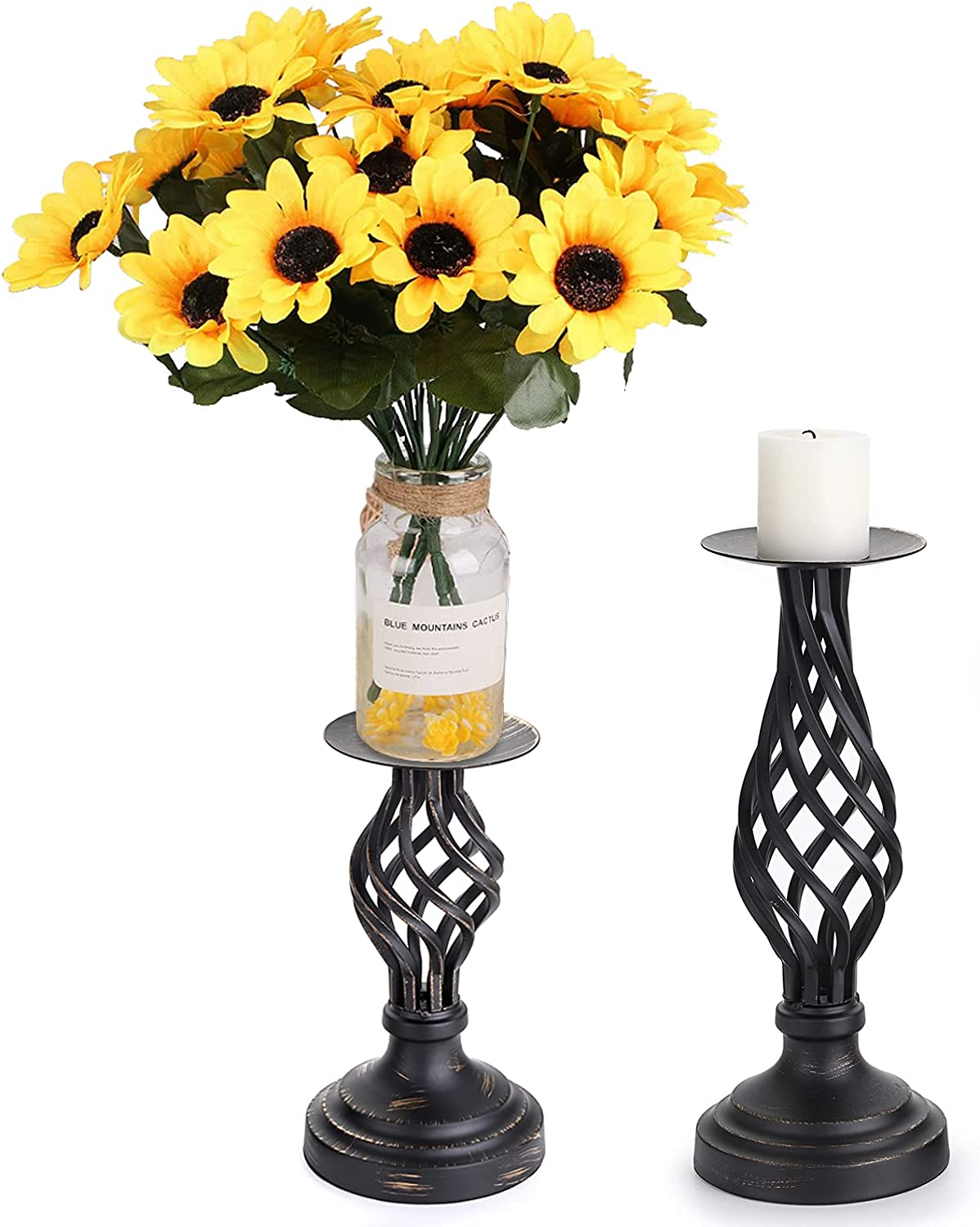 OwnMy Spasm price Set Great interest of 2 Rustic Holders Stands Candle Pillar Metal