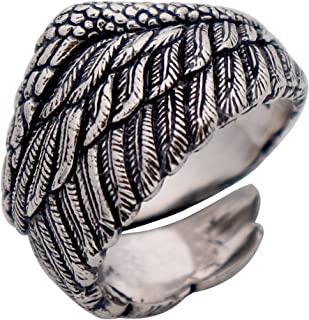 Mens Womens Vintage Black 925 Sterling Silver Feather Ring Angel Wing 14mm Adjustable Size 7-10