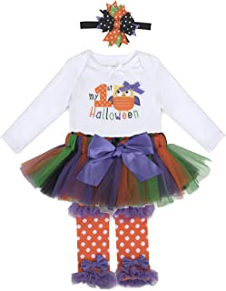 Halloween Baby Girl Outfit Tutu Dress 4 Piece Set with Headband - Holiday Baby Girl Clothes Sets for 0-3 Months, 6-9 Months