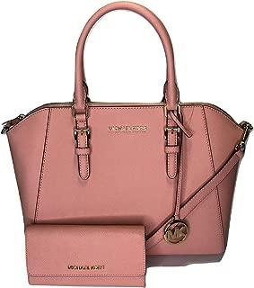 MICHAEL Michael Kors Ciara Large TZ Satchel bundled with Trifold Wallet (Pale Pink)