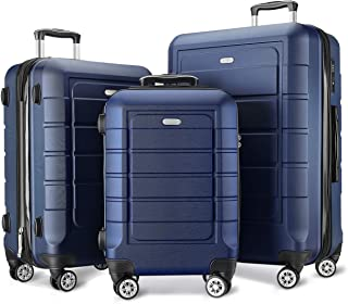Luggage Sets Expandable PC+ABS Durable Suitcase Double Wheels TSA Lock 3pcs Blue