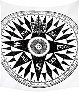 YOLIYANA Compass Wall Tapestry,Vintage British Navy Compass in Black and White Discovery of The New World Theme Decorative for Basement,60''W x 80''H