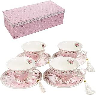 London Boutique Juego de 4 Tazas de café y platillo, diseño Vintage de Flores y Mariposas de Porcelana, cerámica, Rose Pink, 11x8cm