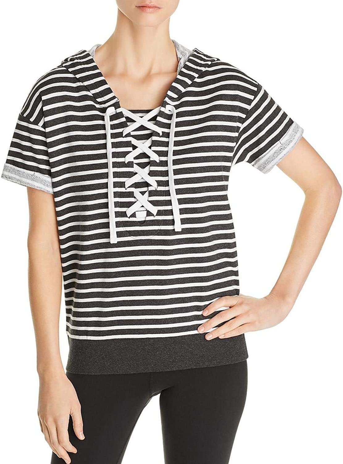 Marc New York Womens Striped Lace Up Hoodie