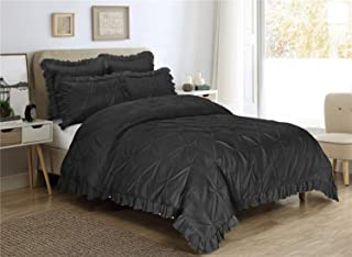 HIG 5 Piece Comforter Set Queen-Black Color Microfiber Pinch Pleat Scallop Fringe -Hania Bedding Collection Queen Size-Soft, Hypoallergenic,Fade Resistant-1 Comforter,2 Standard Shams,2 Euro Shams