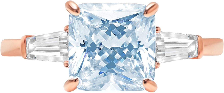 3.47ct Asscher Baguette cut 3 stone Solitaire with Accent Aquamarine Blue Simulated Diamond CZ VVS1 Designer Modern Statement Ring Solid 14k Rose Gold Clara Pucci