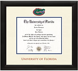 01d06f875752 University of Florida Gator Diploma Frame – Textured Ivory   Blue Matting  with Official UF Logo