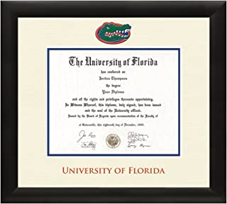Church Hill Classics University of Florida Gator Diploma Frame – Textured Ivory & Blue Matting with Official UF Logo – 11.5 x 16 Diploma Size