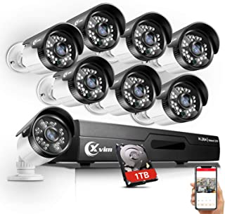 XVIM 720P Outdoor Home Security Camera System - 8 Channel 1080N DVR 1TB Hard Drive 8 HD Bullet Surveillance Cameras with Night Vision and Motion Detection
