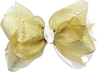 Large Gold and Cream Shimmer Hair Clip Bow for Girls