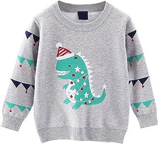 Niños Niñas Suéteres Navideños Manga Larga Jersey Pullover de Punto Jacquard de Dinosaurio Sudadera Prendas de Punto Jumper