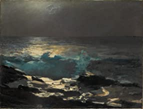 Quality Prints - Laminated 17x13 Vibrant Durable Photo Poster - Winslow Homer - Moonlight, Wood Island Light