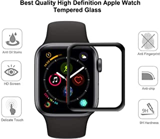 GLYNO INFOTEL™ iWatch [Full Glue] Screen Protector 42MM, [5D Full Coverage] [Anti-Scratch] [High Definition] [Full Glue] Tempered Glass for Apple Watch 42mm Series 3/2/1 - (Black)