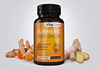 VitaCore Turmeric and Ginger Supplements – 95% Curcuminoids with BioPerine Black Pepper – Occasional Anti-Inflammatory, Jo...