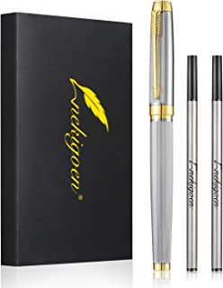 Nekigoen Rollerball Pen for Men Women Luxury Metal Executive Pens Home Office Use, with Perfect Gift Box and 2 Extra Refills Black Ink 0.7mm G2 (Sliver)
