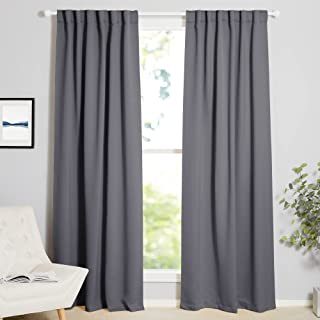 NICETOWN Blackout Curtain Panels Window Draperies - (Grey Color) 52x84 Inch, 2 Pieces, Insulating Room Darkening Blackout ...