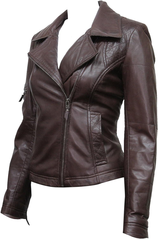 ABSY Womens Ladies Hooded Brown Leather Biker Jacket Designer Look Size 820