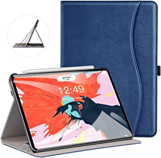 Ztotop Case for iPad Pro 11 Inch 2018 Release, Premium Leather Business Slim Multi-Angle Viewing Folding Stand Cover with Auto Wake/Sleep (Support 2nd Gen Apple Pencil Wireless Charging),Navy Blue