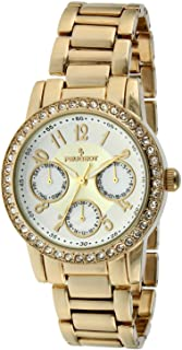 Peugeot Women's 2937SL Silver-Tone Round Multi-Function Swarovski Crystal Accent Bracelet Watch