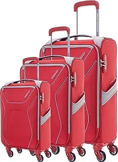 مجموعة من 3 حقائب سفر من اميريكان توريستر 4 عجلات، ( 55 69   80 ) ، احمر