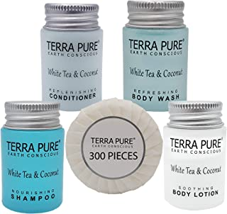 Terra Pure White Tea & Coconut Hotel Size Toiletries Set   1-Shoppe All-In-Kit   1 oz. Liquids and 1.25 oz. Bar Soap   Ame...