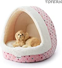 Tofern Colorful Dots Patterns Striped Cute Pet Fleece Bed Puppy Small Medium Dog Cat Sleeping Igloo House Non-Slip Warm Wa...