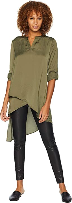 V-Neck Top w/ Roll Tab Sleeves