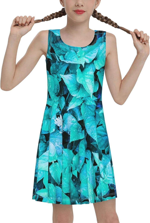 SDGhgHJG Leafy Background Sleeveless Dress for Girls Casual Printed Jumper Skirt