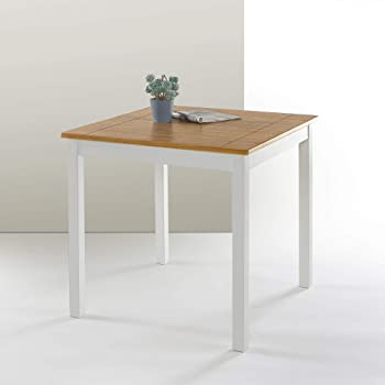 Amazon Com Damen Square Tile Top Casual Dining Table Natural Brown And White Tables