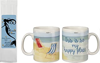 Beach Coffee Mug and Coffee Gift Set - This is So My Happy Place 2-Sided Mug Cup with Mermaid Kisses Salted Caramel Coffee 2 Item Bundle