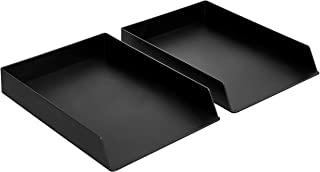 Amazon Basics Plastic Desk Organizer - Letter Tray, Black, 2-Pack