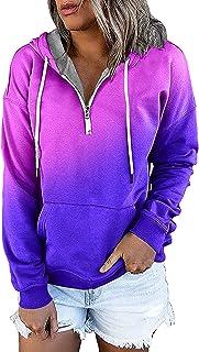 Sweats à Capuche Femmes Manches Longues Color Block Cordon de Serrage Sweatshirts avec Revers à glissière Lâche Doux Confo...
