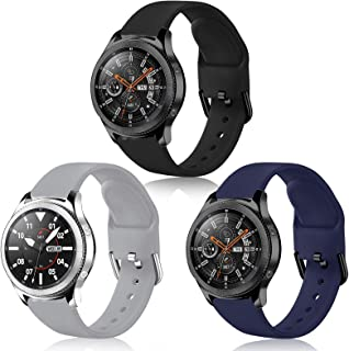 Mosstek Bands Compatible with Samsung Galaxy Watch 3 45mm / Galaxy Watch 46mm / Gear S3 Classic/Frontier, Soft Silicone Re...